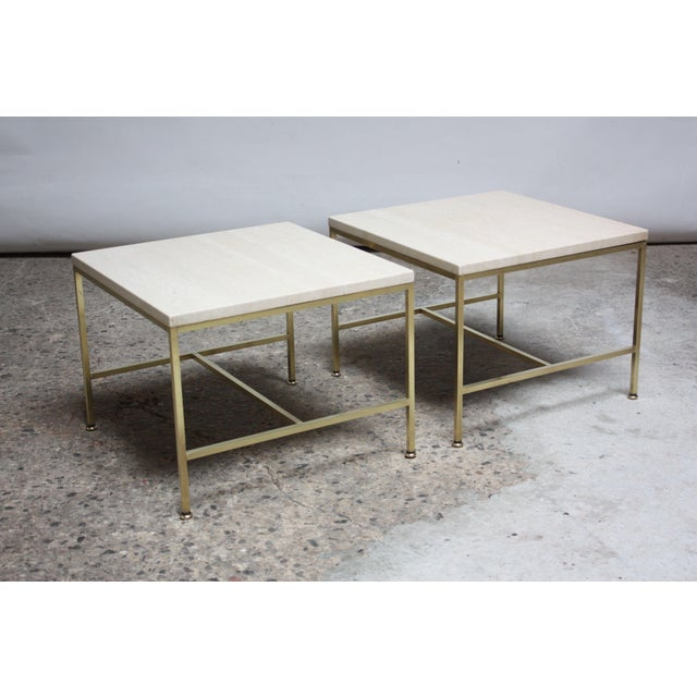 Paul McCobb Travertine and Brass Occasional Tables For Sale - Image 13 of 13