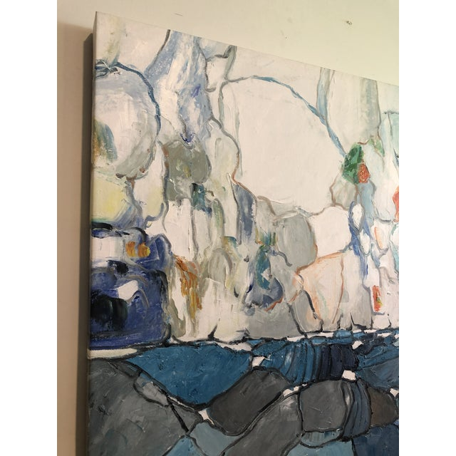 Large scale contemporary painting in hues of blue, gray, white and pops of orange by unknown artist. Contemporary.