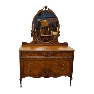 Late 20th Century Berkey & Gay Louis XVI French Burled Walnut Dresser Chest & Mirror For Sale