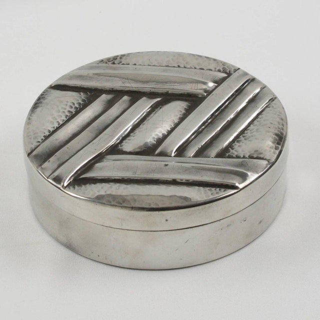 Elegant French Art Deco polished pewter decorative box by L. Guilbaud. Perfect for vanity or boudoir or any modern Art...