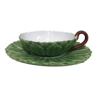Vintage Italian Ceramic Palm Frond Soup Bowls - Setof 12 For Sale