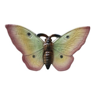 Large Majolica Pink Butterfly Wall Pocket Fives Lille, Circa 1900 For Sale