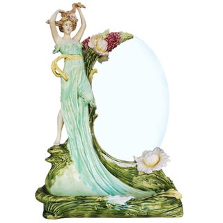 Hans Kieweg Art Nouveau Figural Vanity Mirror for Fraureuth For Sale