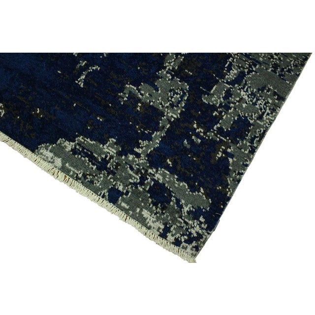Abstract Modern Terisa Blue/Ivory Wool&Silk Rug - 4'2 X 6'5 For Sale - Image 4 of 8