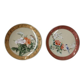 Porcelain Asian-Style Bird Plates - A Pair For Sale