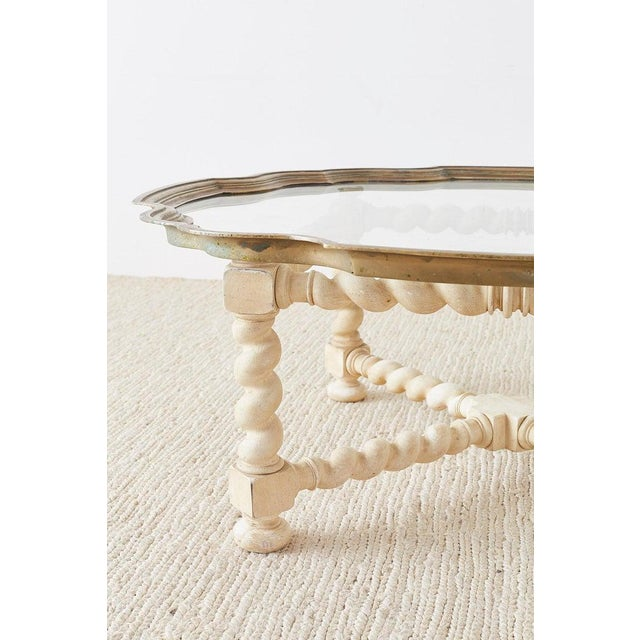 Baker Furniture Company Baker Barley Twist Brass Tray Coffee Cocktail Table For Sale - Image 4 of 13