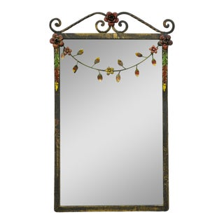 Antique Wrought Iron Floral Framed Mirror For Sale