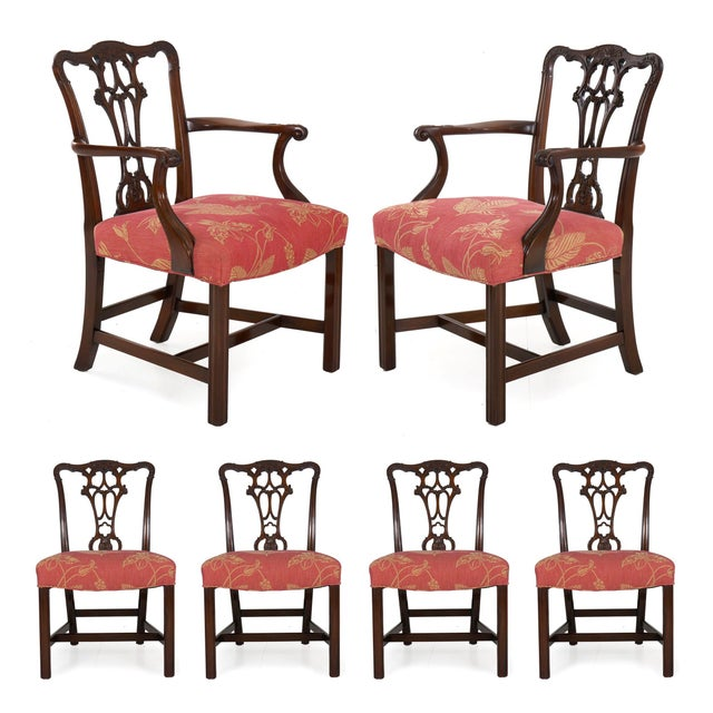 20th Century English Antique Carved Mahogany Dining Chairs - Set of 6 For Sale - Image 13 of 13