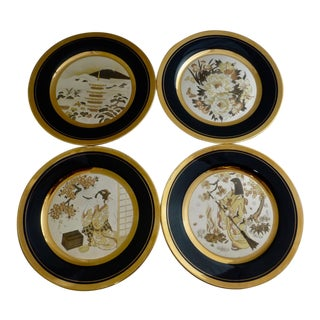 Chokin Set of Four Silver and Gold Japanese Plates by Naohisa Hori For Sale