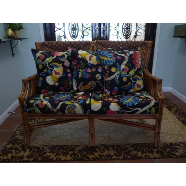 Tommy Bahama Style Bentwood Rattan Settee - Image 2 of 9