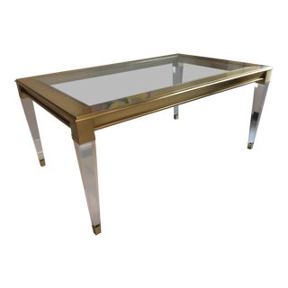 Modern History Home Soho Brass and Lucite Cocktail Table For Sale