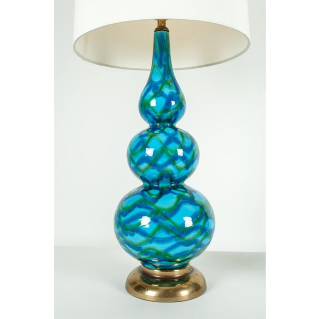 1930s Vintage Porcelain Table Lamps With Brass Bases - a Pair For Sale - Image 5 of 10