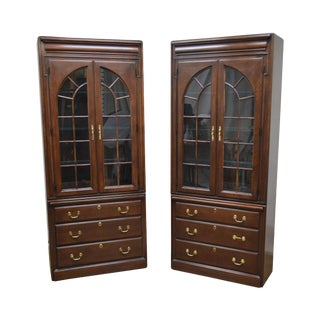 Harden Pair of Traditional Solid Cherry Wood Display Cabinets