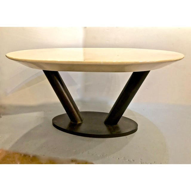 Mid-Century Modern Karl Springer Lacquered Goatskin Dining Table For Sale - Image 10 of 10