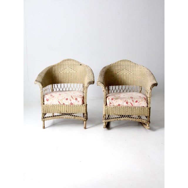 Antique Wicker Chair and Rocker For Sale - Image 4 of 11