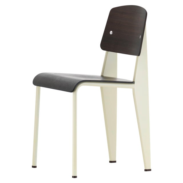 Mid-Century Modern Jean Prouvé for Vitra Dark Oak and Ecru White Metal Standard Chair For Sale - Image 3 of 3