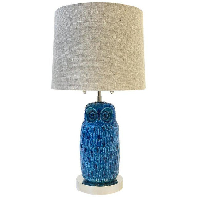 Italian Ceramic and Nickel Owl Table Lamp by Aldo Londi for Bitossi For Sale - Image 11 of 11