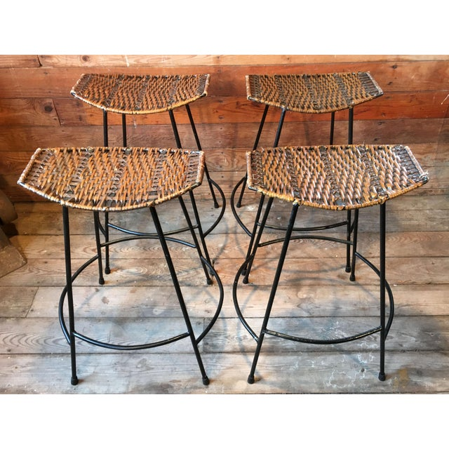 Brown Arthur Umanoff Wrought Iron & Wicker Counter Height Bar Stools - Set of 4 For Sale - Image 8 of 11