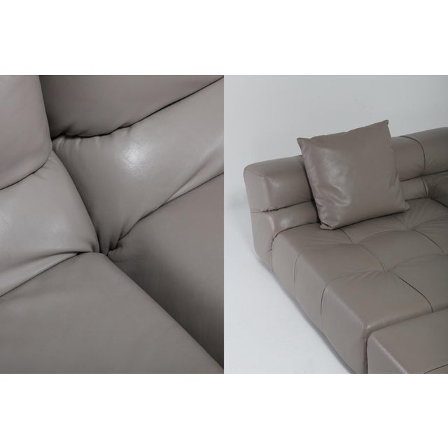 Gray Tufty Time B&b Italia Taupe Leather Sectional Sofa by Patricia Urquiola For Sale - Image 8 of 11