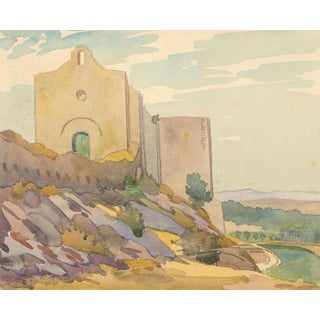 Mid-Century Watercolor Landscape Painting For Sale