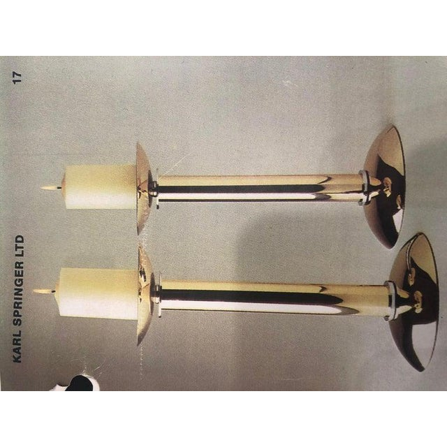 Gold Documented Karl Springer Mid-Century Brass and Chrome Candlesticks - Set of 3 For Sale - Image 8 of 9