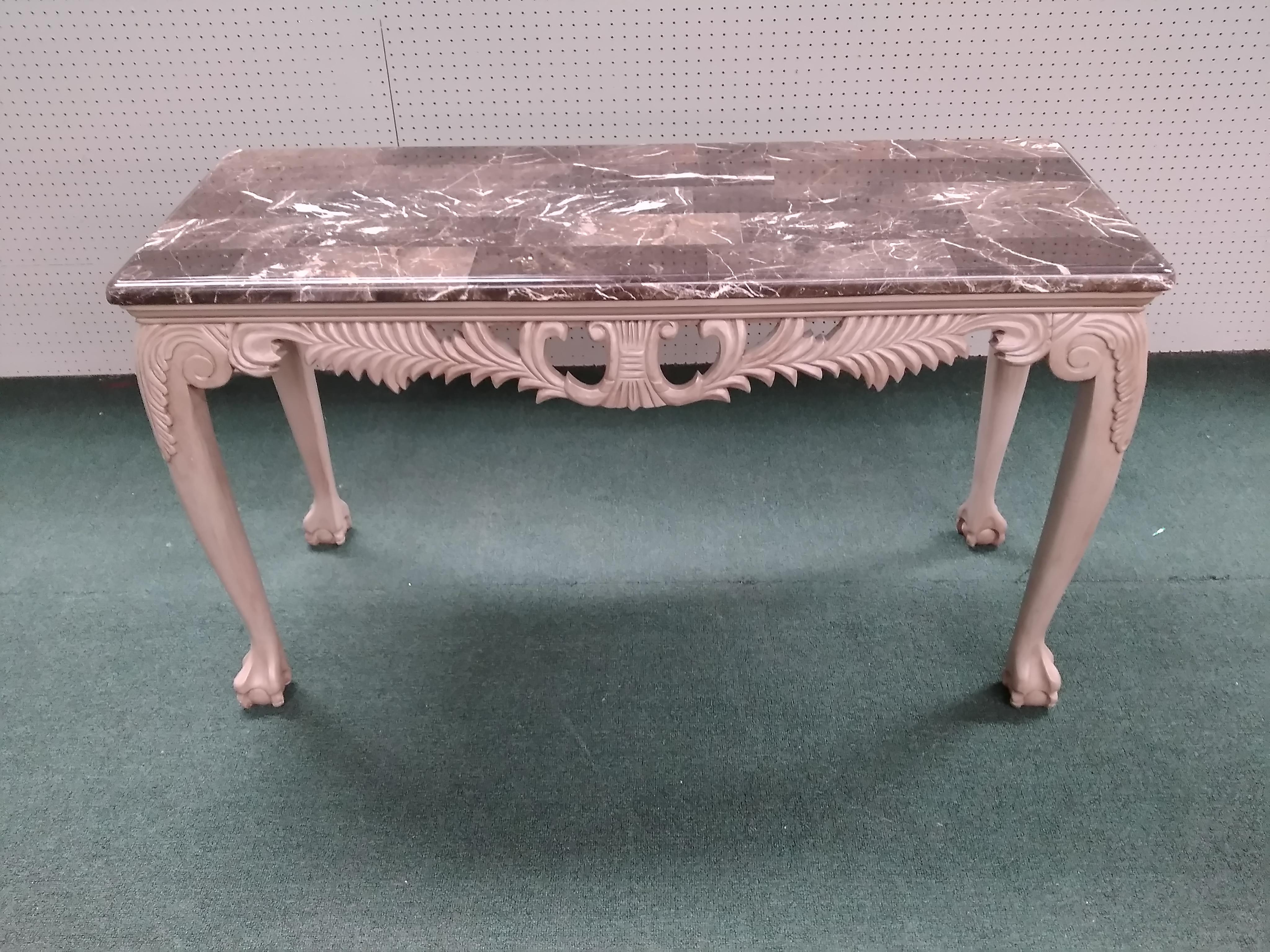 Chateau Beaurlevais Console Table Features Faux Marble Top, Elegant Carved  Frame Work Ending In Ball