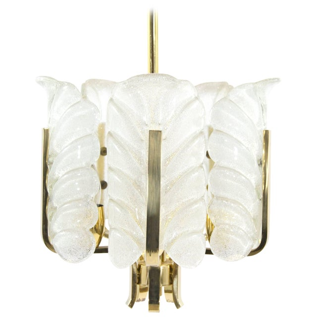 Murano Glass Brass Chandelier by Carl Fagerlund for Orrefors, Sweden, 1960s For Sale