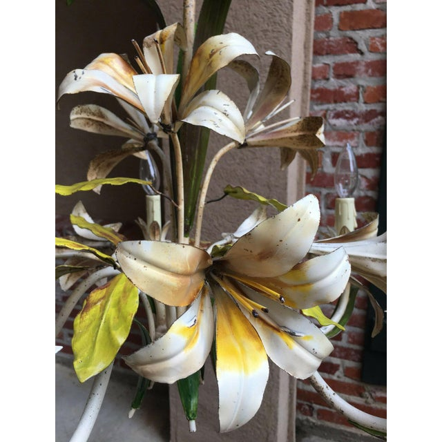 White Antique French Tole Flower Polychrome Metal Chandelier For Sale - Image 8 of 10
