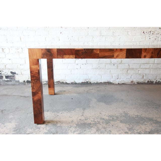 Brown Paul Evans for Directional Patchwork Burl Wood Parsons Extension Dining Table For Sale - Image 8 of 13