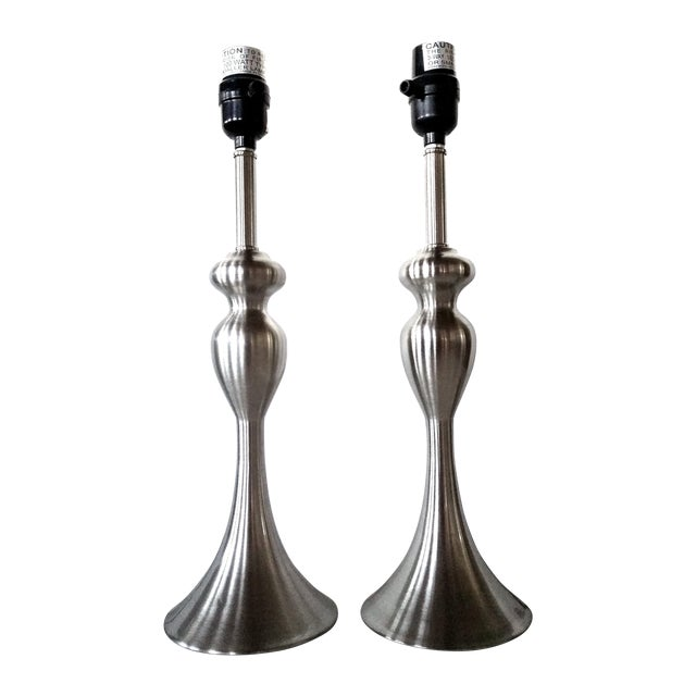 Satin Finish Stainless Steel Table Lamps - Pair - Image 1 of 8