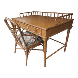 Faux Bamboo Writing Desk With Bassett -Chris Madden Chair For Sale