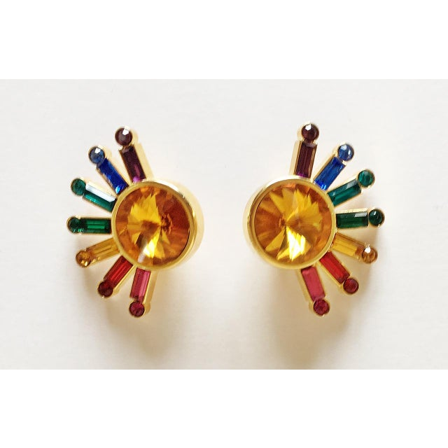 1980's Pop Art Rainbow Sunburst Earrings - a Pair For Sale - Image 4 of 5