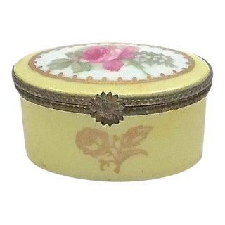 Antique Porcelain Rose Limoges Box For Sale