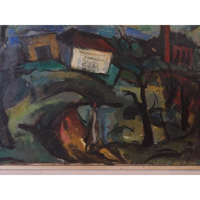 Canvas Mid-Century Abstract Expressionist Landscape Original Oil on Canvas Painting For Sale - Image 7 of 8