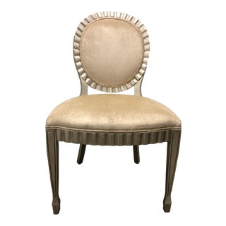 Cream and Silver Wood Trimmed Chair For Sale