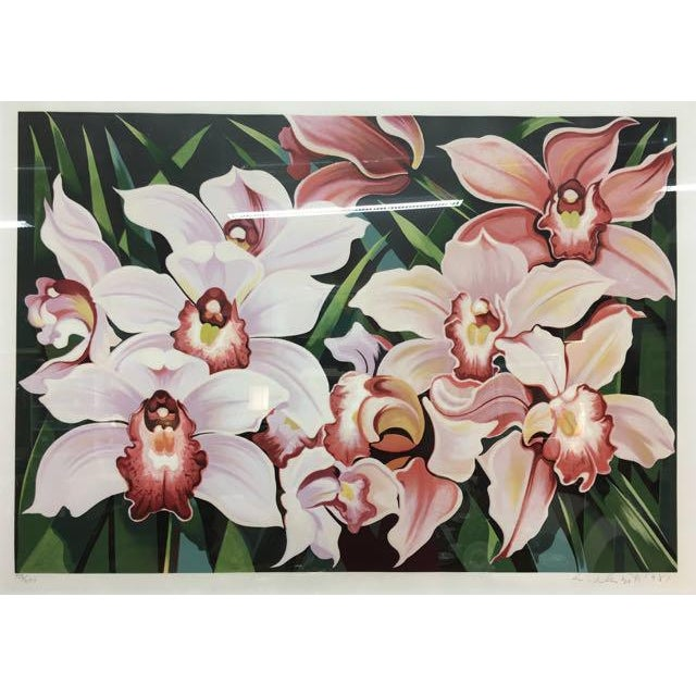 "Paper 1981 Serigraph ""Cattleya Orchids"" by Lowell Nesbitt For Sale - Image 7 of 7"