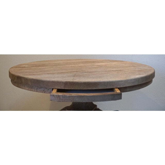 "Cottage 40"" Round Wood Pedestal Base Farmhouse Coffee Table With Drawer For Sale - Image 3 of 10"