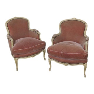 Early 20th Century French Pair of Louis XV Style Bergeres For Sale