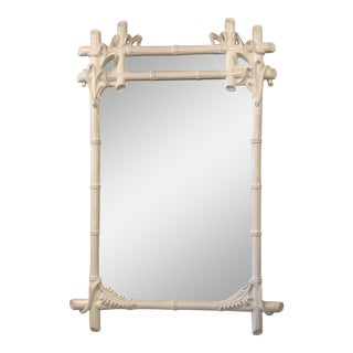Vintage Gampel and Stoll White Lacquered Faux Bamboo Wall Mirror