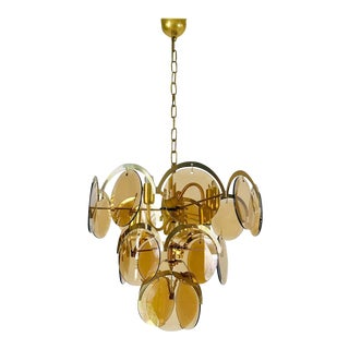 Midcentury Three-Tier Brass and Glass Chandelier by Vistosi, 1960s For Sale