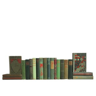 Vintage Green & Red MIX : Set of Twenty Decorative Books For Sale