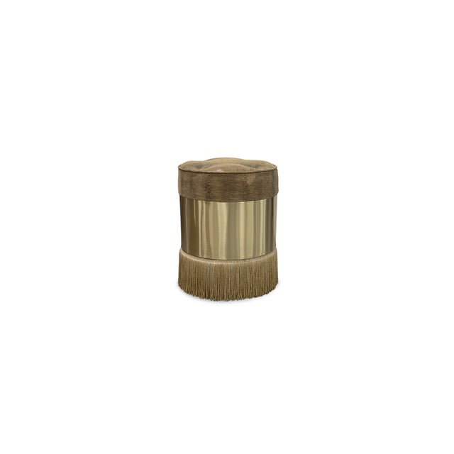 Each of these fashionable pouf stools feature their own unique combination of contrasting materials. One of a trio of...