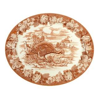 "1960s Wood & Sons Turkey Brown 21"" Oval Serving Platter For Sale"