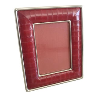 Red Leather Photo Frame by Fabio Ltd For Sale