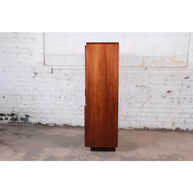 Paul Evans Style Mid-Century Modern Brutalist Walnut Armoire Dresser by Lane For Sale - Image 10 of 13