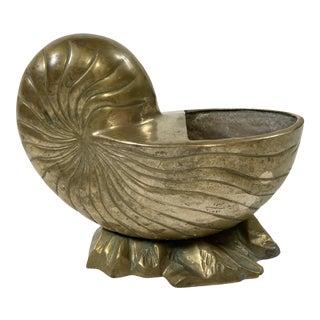 Brass Nautilus Seashell Planter For Sale