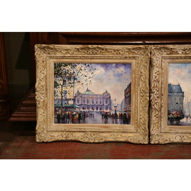 Fine pair of mid-20th century paintings depicting two of Paris most well recognized monuments; L'Opera and Le Palais de la...