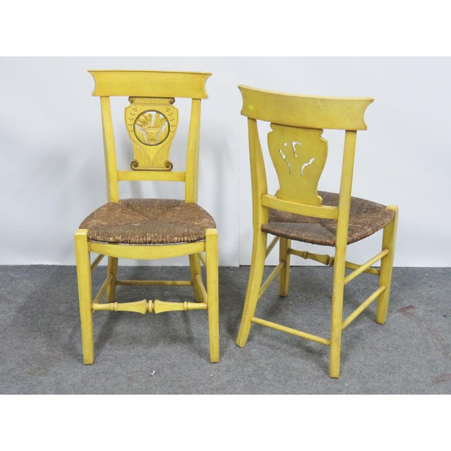 French Country Carved & Painted Rush Seat Chairs - Set of 6 For Sale - Image 4 of 7