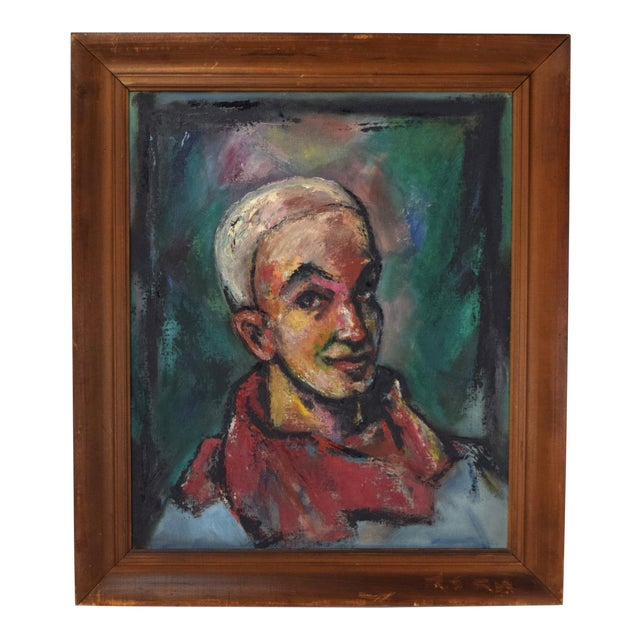 """Vintage Abstract Oil Painting """"Self Portrait in the Circus"""" by Nik Krevitsky For Sale"""