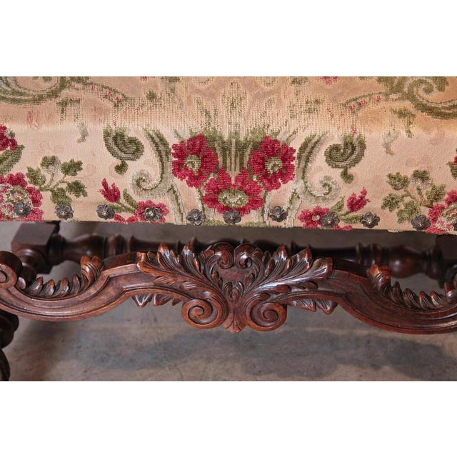 Pair of Antique Louis XIV Style Walnut Wood Armchairs from France For Sale In Dallas - Image 6 of 8